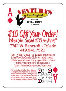 Venturas Mexican Restaurante in the New 2019 FoodieCards deck