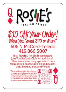 FoodieCards Toledo 2019 Rosies Italian Grill