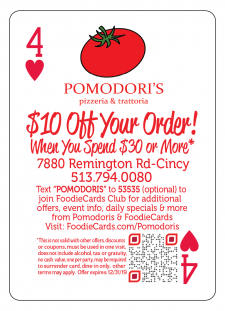 Pomodoris Restaurant FoodieCards