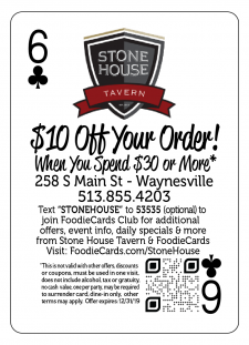 Stone House Tavern FoodieCards